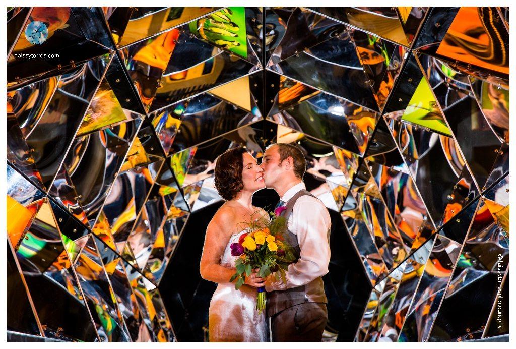 Virginia Aquarium Wedding - Bride and Groom under the Kaleidoscope